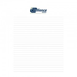50 sheets pad printed in colors, 8.5 '' x 11 '', customizable