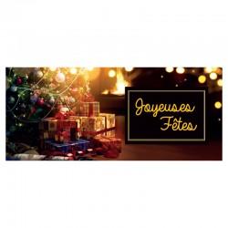 50 cartes, votre logo, signature, Joyeuses fêtes, français 9,25 x 4