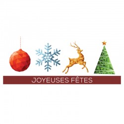 50 Happy Holidays Cards, Customizable, Logo - French
