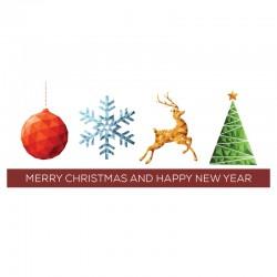 50 cartes, votre logo, signature, Joyeuses fêtes, anglais 9,25 x 4