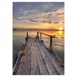 Quai et coucher de soleil, cartes personnalisables, français, Joyeux anniversaire