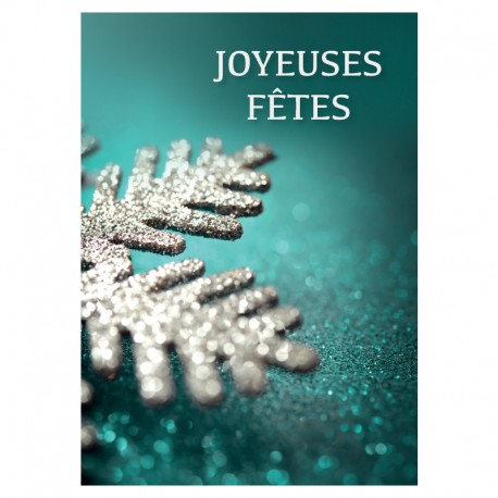 Christmas Greeting Card - Silver Snowflake - Pack of 50 - 5 '' x 7 '' - French