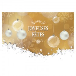 50 Christmas Cards - Golden Christmas baubles - FRENCH - 5 '' x 7 ''