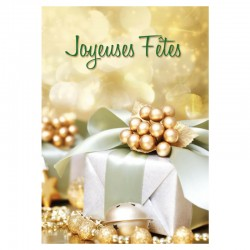 Happy Holidays Cards, Pack of 50 - Golden Gift - French