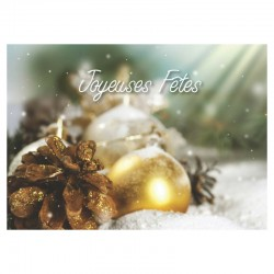 Happy Holidays Cards, Pack of 50 - Pine Cone - French