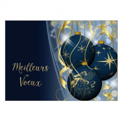 Customizable Holiday Greeting Card - Blue Ornements - Your logo - Pack of 50 - 5 '' x 7 '' - French