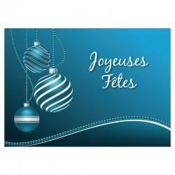 50 Cartes personnalisables - Boules Turquoises - Logo - 7'' x 5'' - Français