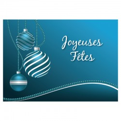 Customizable Holiday Greeting Card - Teal Ornements - Your logo - Pack of 50 - 5 '' x 7 '' - French