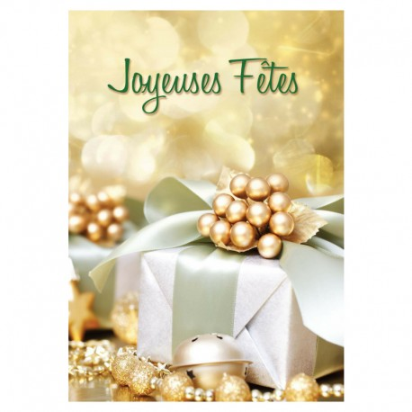 Customizable Holiday Greeting Card - Gold gift - Your Logo - Pack of 50 - 5 '' x 7 '' - French