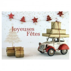 Customizable Holiday Greeting Card - Vintage car - Your logo - Pack of 50 - 5 '' x 7 '' - French