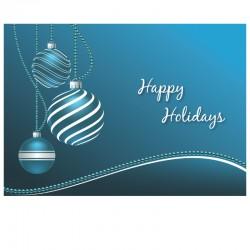 50 cartes de Noël, Personnalisé - Boules Turquoises - Anglais - 7'' x 5''