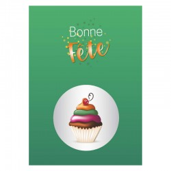 Green Cupcake, 50 customizable Birthday cards, french