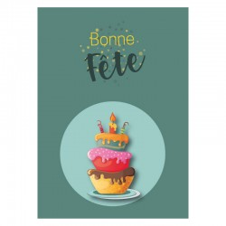 Green cake Birthday Cards, Customizable - 5'' x 7 '' - French