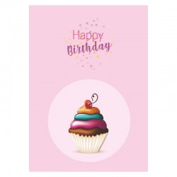 Cupcake Birthday Cards, Customizable - 5'' x 7 '' - English