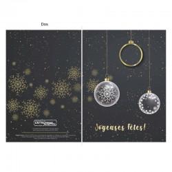 Boules de Noël en noir et doré, personnalisable, français. paquet de 50 cartes