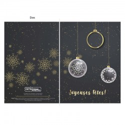 Christmas balls in black and gold, customizable, french, Pack of 50