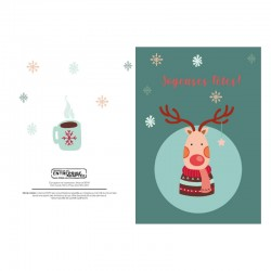 Red-nosed reindeer, customizable, French