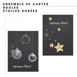 Ensemble 50 cartes : étoiles et boules de Noël, personnalisable, français