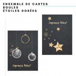 Set 50 cards: stars and Christmas balls, customizable, french