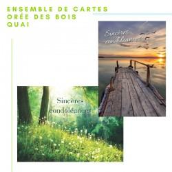 Ensemble 20 cartes de Condoléances : orée des bois et quai, personnalisable, français