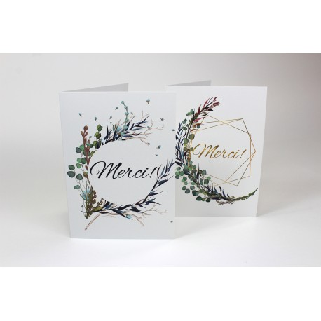 Merci, set of 20 cards, Branches, customizable, French
