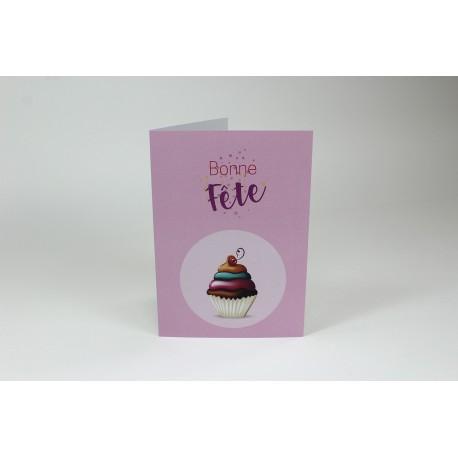 Cartes d'anniversaire, petit gâteau en vert et rose