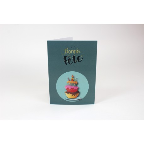 Cartes d'anniversaire, Gâteau vert, personnalisable, 5'' x 7'' - Français