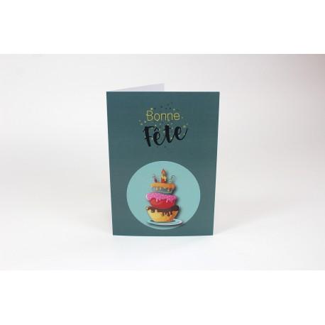 Green cake Birthday Cards, Customizable - 5'' x 7 '' - French