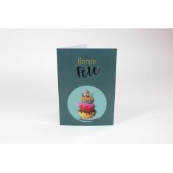 Gâteau d'anniversaire en vert, cartes sans texte, Français