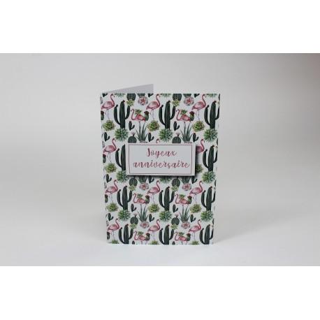Flamingo-cactus Birthday Cards, Customizable - 5'' x 7 '' - French
