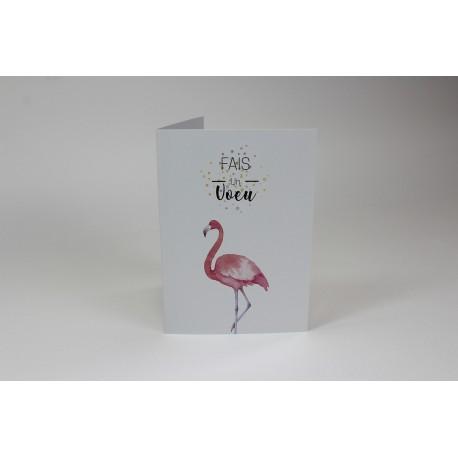 Pink Flamingo Birthday Cards, Customizable - 5'' x 7 '' - French