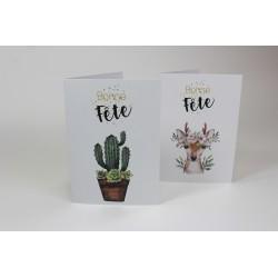 Ensemble 50 cartes : cactus et chevreuil, personnalisable, français