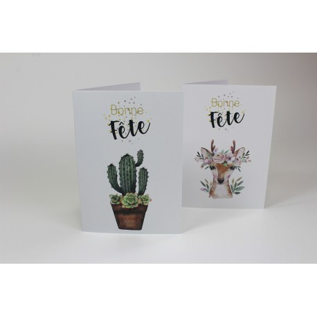 Set of 50 cards: Cactus and Roe, Customizable, French