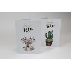 Ensemble 20 cartes : cactus et cheveuil, personnalisable, français
