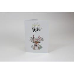 Deer Birthday Cards, Customizable - 5'' x 7 '' - French