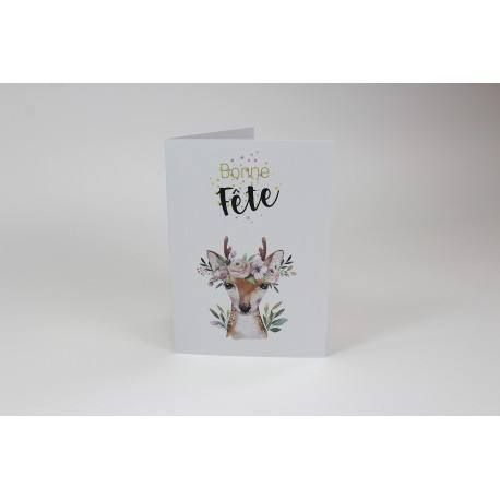 Deer Birthday Cards, Customizable - 5'' x 7 '' - French
