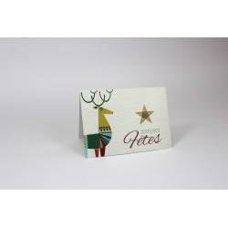 Reinderr and star, customizable cards, french
