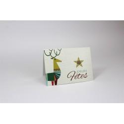 Renne et étoile, personnalisable, français, paquet de 50 cartes