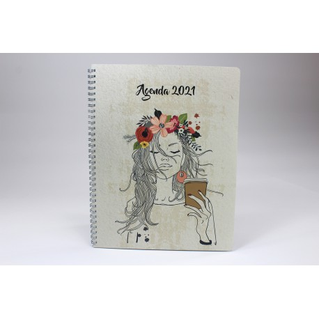 Name on cover, BILINGUAL, 2021 Desk Agenda, 6.5''x9 '', Drawing series