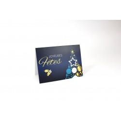 Sapin bleu et doré, personnalisable, français, paquet de 50 cartes