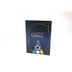 Blue and Golden Christmas tree, customizable cards, french