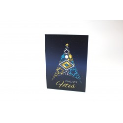 Sapin formé d'étoiles et de ronds, personnalisable, français, paquet de cartes
