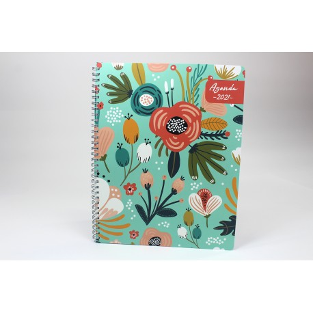 Name on cover, BILINGUAL, 2021 Desk Agenda, 6.5''x9 '', Floral series