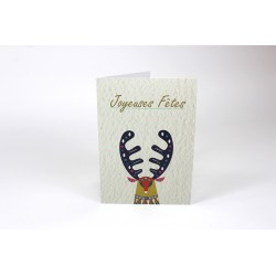 Reindeer head, customizable cards, french