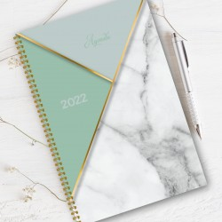 Non personalized, FRENCH Agenda 2022, 8.5'' x 11'', Marble