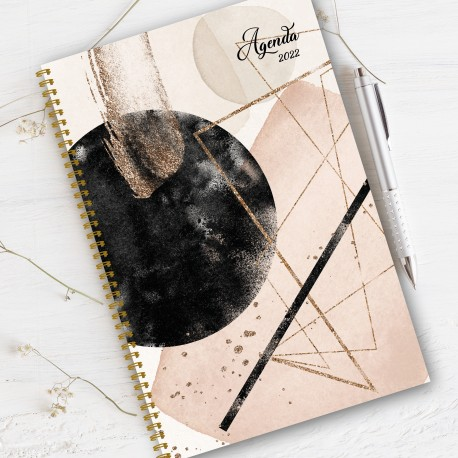 Non personalized, FRENCH Agenda 2022, 8.5'' x 11'', Golden Rose